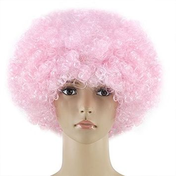 Veroda Curly Clown Afro Funky Disco Wig Fancy Dress Costume Accessory Color Light Pink