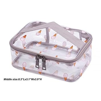 WODISON Clear Travel Cosmetic Bag Makeup Train Case Organizer with Top Handle Middle