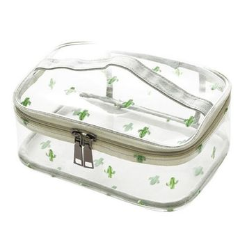 WODISON Cute Printed Clear Cosmetic Bag Travel Makeup Train Case Organizer with Top Handle Cactus Middle