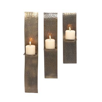 Woodland 27474 Set of Three Metal Candle Scones with Crocodile Skin Design