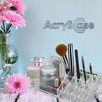 Acrylic Makeup & Lipstick Organizer, Cosmetic Brush Holder, Arranges Makeup and Accessories, Beauty Display Container, By AcryliCase