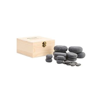 Professional Hot Stone Massage - 20 Piece Set (Basalt) in Wood Case
