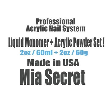 MIA SECRET PROFESSIONAL LIQUID MONOMER 2 oz + CLEAR ACRYLIC POWDER 2 oz NAIL SYSTEM + FREE EARRING