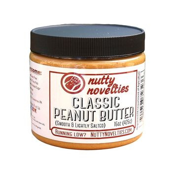 Nutty Novelties Classic Salted Peanut Butter - High Protein, Low Sugar Healthy Peanut Butter - All-Natural Peanut Butter Free of Cholesterol & Preservatives - Vegan Peanut Butter - 15 Ounces [Classic]