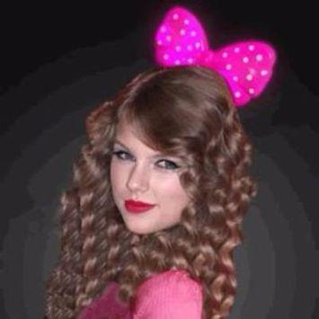 Light Up Hard Shell Bow Headband Pink