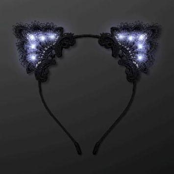 LED Black Lace Cat Animal Ears Headband by Blinkee