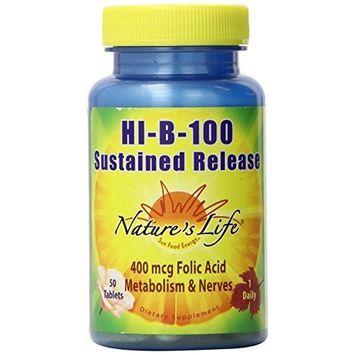 Nature's Life Hi-B-100 Sustained Release, 100 Mg, 400 mcg Folic Acid, 50 Tablets