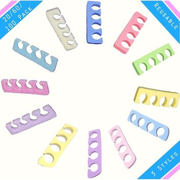 Pedicure Manicure Toe Separators Spacers Durable Soft Foam Individually Wrap Disposable For Nail Finger Foot Spa Professional Quality Home or Salon (60 Pack