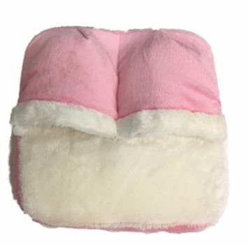 Spa Massage Foot Massager Pink With White Accents & Micro Plush Fabric