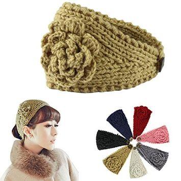 dzt1968 Beautiful Women Crochet Headband Knit Hairband Flower Winter Ear Warmer Head wrap 1 pc