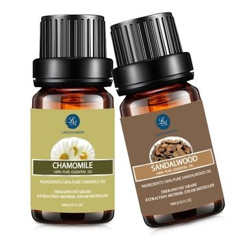 Chamomile Sandalwood Essential Oil,10ML Natural Pure Aromatherapy Oils Therapeutic Grade, Value 2 Pack