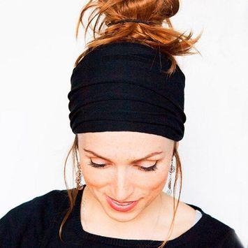DZT1968 Women Wide Cloth Headband Elastic Hairband For Sports Yoga Bath Make Up Daily