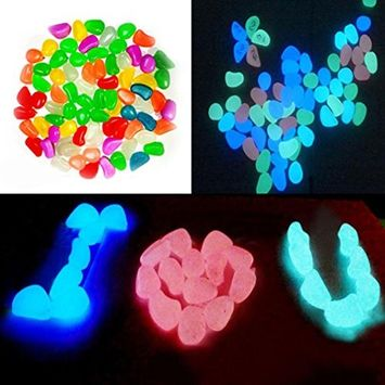 DEESEE(TM) 50 Pcs Glow In The Dark Stones Pebbles Rock For FISH TANK AQUARIUM Garden (Orange)