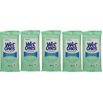 Wet Ones Sensitive Skin Hand and Face Wipes Travel Pack, 20-Count (Pack of 5)