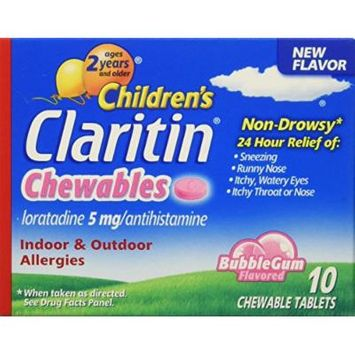 Claritin children's chewable tablets, bubble gum, 10 Count (Pack of 6)