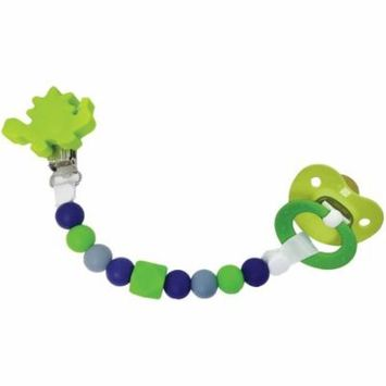 Petite Creations Silicone Pacifier Holder, Green Dinosaur