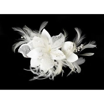 IVORY Feather Fascinator with Sequence & Bugle Beads