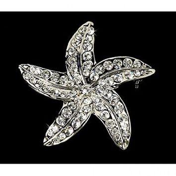 Crystal Starfish Bridal Beach Brooch