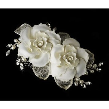Twin Ivory Rose Bridal Hair