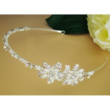 Elegant Bridal Headband Crystal & Pearl Headpiece