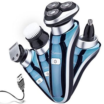 Hatteker 4 in 1 Electric Razor for Men Rotary Shavers Electric Shaver Waterproof Facial Brush Precision Trimmer Nose Trimmer CordlessUSB Rechargeable Birthday Gifts Anniversary Gifts Fathers Day Gift