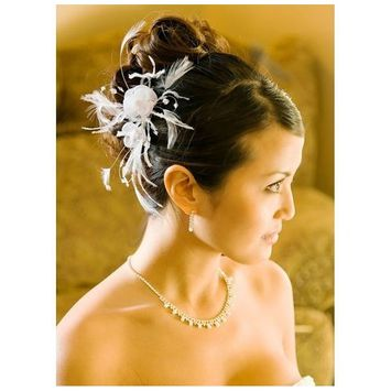 IVORY Feather Bridal Comb Floral Hair Comb Accesories