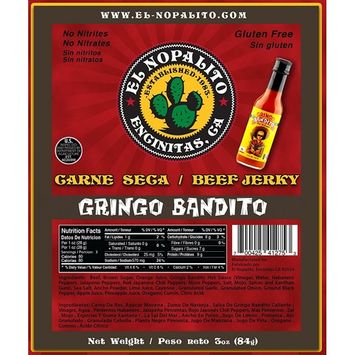 El Nopalito Beef Jerky – Cattle Sourced from CA - Gluten and Nitrate/Nitrite Free High Protein Snack - Made in the USA - Gringo Bandito