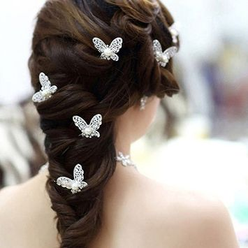 Polytree 6 Pcs U-shape Butterfly Hair Pins Wedding Bridal Faux Pearl Hair Clips - Silver