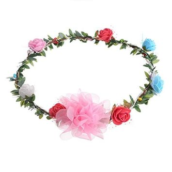 Polytree LED Flower Garland Headband Crown Floral Flower Hair Wreath Headdress with LED Decor for Festival Wedding
