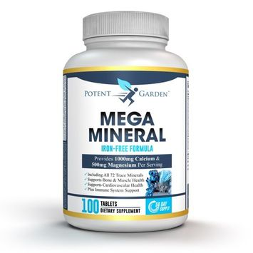 Mega Minerals by Potent Garden - All 72 Trace Minerals - Multi Mineral Supplement Supports Bone Strength, Joint Flexibility, Immune System + More - 1000mg Calcium 500mg Magnesium Zinc D3 - Iron Free
