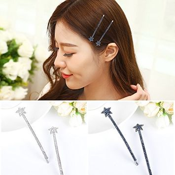 Polytree 4pcs Rhinestone Star Hair Pins Clips Women Headwear Hair Accessories