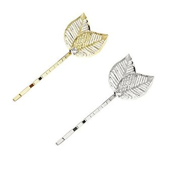 Polytree 2Pcs Hollow Leaf Hairpin Hair Accessories for Women Girl Decor
