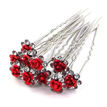 Polytree 10Pcs Wedding Bridal Pearl Flower Crystal Hair Pins Clips