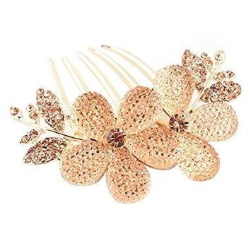 Polytree Fashion Charm Women's Hair Barrettes Flower Crystal Rhinestone Hair Clip Comb