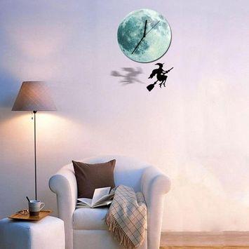 LtrottedJ Halloween Night Lunar Clock Cartoon Luminous Moon Wall Clock Home Decoration