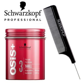 Schwarzkopf OSIS + THRILL 3 Texture FIBER GUM, Strong Control (with Sleek Steel Pin Tail Comb) (3.38 oz/100 ml)