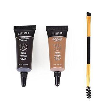 Msmask 2PCS Brown Waterproof Tint Eyebrow Henna With Mascara Eyebrows Paint Brush Hot