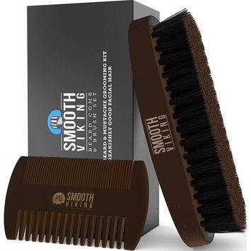 Beard & Mustache Brush and Comb Kit - Boar Bristle Beard Brush & Wooden Grooming Comb - Facial Hair Care Gift Set for Men - Distributes Products & Wax for Styling, Growth & Maintenance - Smooth Viking