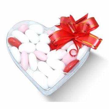 Dulcefina, Valentine Italian White And Red Almond Confetti Clear Heart Box w/Bow (5 oz) (5 Pcs)