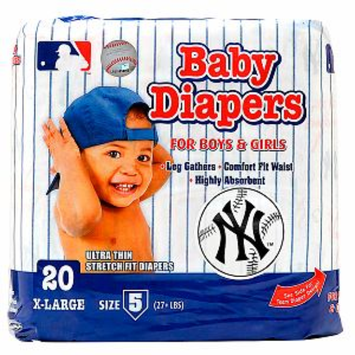 Braco Manufacturing New York Yankees Supreme Disposable Diapers, Size 5, 1 ea