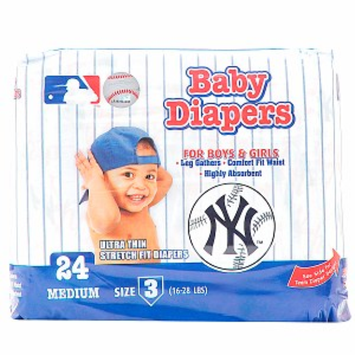 Braco Manufacturing New York Yankees Supreme Disposable Diapers, Size 3, 1 ea
