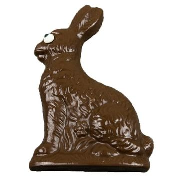 Chocolate Easter Bunny, Half-Pound Solid Milk Chocolate Rabbit, Gift Decoration & Basket Stuffer, Hand-Made in USA in Small Batches [Milk Chocolate]