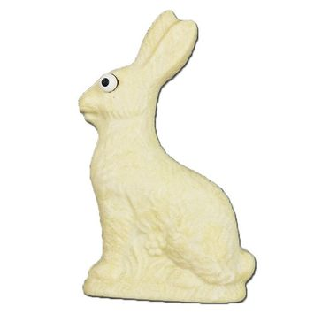 White Chocolate Easter Bunny, Half-Pound Solid White Chocolate Rabbit, Gift Decoration & Basket Stuffer, Hand-Made in USA in Small Batches [White Chocolate]