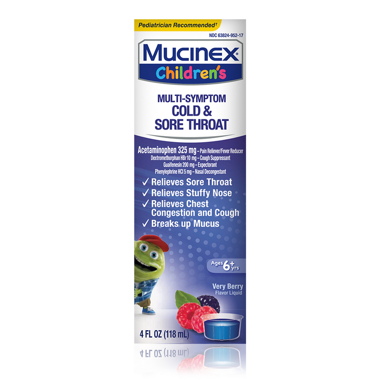 Children's Mucinex® Cold, Cough & Sore Throat Liquid, Very Berry