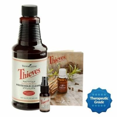 Thieves Cleaner 14.4oz - Thieves Spray 1oz - Thieves Guide - Kit - by Young Living