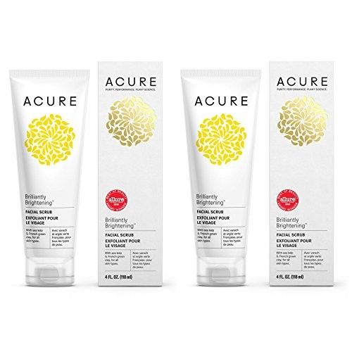 Acure Organics Brightening Facial Scrub, Argan Stem Cell and Chlorella Growth Factor For All Skin Types With Aloe Vera, Acai, Blackberry, Rosehips, Calendula, Chamomile and Rooibos, 118ml (Pack of 2)