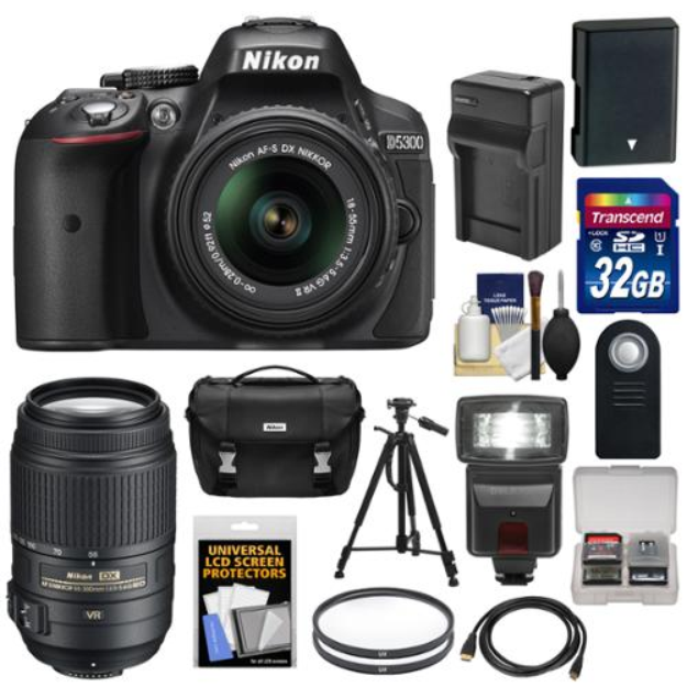 Nikon D5300 Digital SLR Camera & 18-55mm G VR II Lens (Black) with 55-300mm VR Lens + 32GB Card + Battery & Charger + Case + Flash + Tripod + Kit
