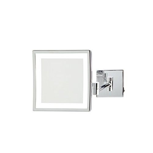 "Jerdon JRT885CLD 8"" x 8"" LED Lighted Wall Mount Mirror, Direct Wire"