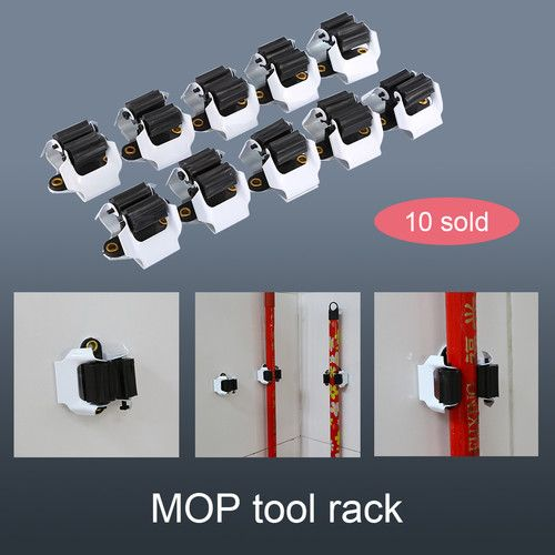 10pcs Kitchen Mop and Broom Holder Wall Mounted Organizer Brush Garden Storage Hanger Tool Rack