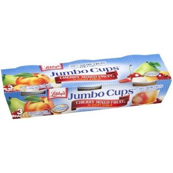 Libbys Libby's Jumbo Cups Cherry Mixed Fruit in Light Syrup, 18 oz Packs, (Pack of 8)
